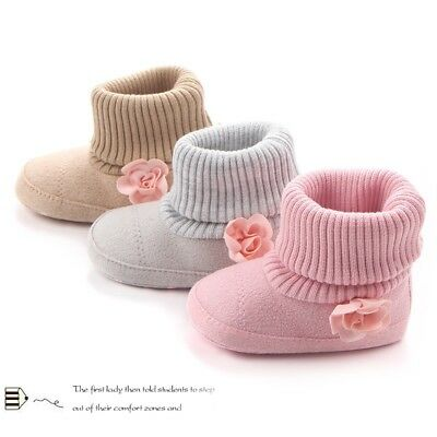 Baby Girl Newborn Flower Warm Snow Boots Shoes Toddler Infant Soft Shoes Booties