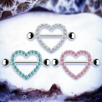 MAISIE | Heart Nipple Shields Silver Gem Nipple Bars Rings Bar Piercing Jewelry