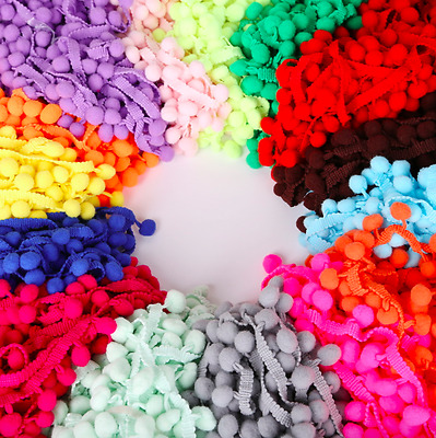 Pom Pom Trim Trimming Sewing Craft 25 YARD Roll 10mm Bobble Fringe Pompom