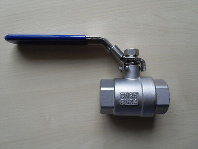 "1"" BSP 2Pc Stainless Steel Ball Valve SS 316L Full Bore Female Threaded"