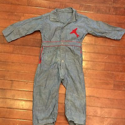 Chambray Vintage 40s Boys 2T 3T Toddler Airplane Patch Jumpsuit Coveralls