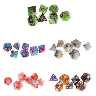 35pcs Polyhedral Dice Double-Color Dice D20 D12 D10 D8 D6 D4 for DND MTG RPG