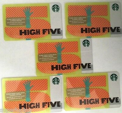 STARBUCKS - HIGH-FIVE - GIFT CARD - LOT OF 5 Consecutive Numbers - NEW