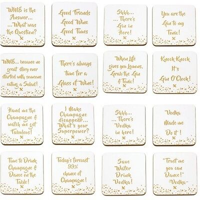 Set Of 4 x Gold Edition Wine Vodka Champagne Gin Tonic Prosecco Drink Coasters
