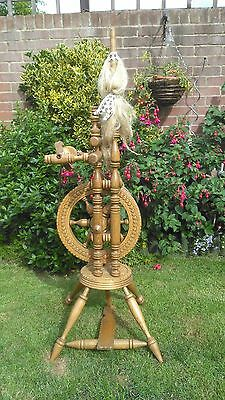 Vintage design wooden Spinning Wheel.  Crafted in Black Forest Pine.  Full size.