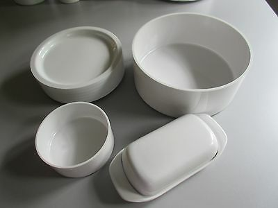 "KASEN Set by Peter Pan w  6 White Plates & 1 lg Salad Bowl 9"" + 1 Sm 5"" Bowl"