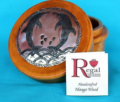 Dolphins Hand Tooled Aluminum and Mango Wood Trinket Jewelry Box Regal Art Gifts