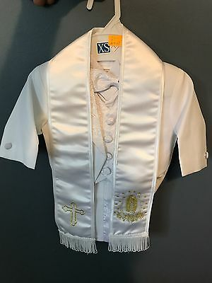 Baby Boy White Suit/Tuxedo Party/Baptism/Wedding 6 piece Outfit/ Gold Virgin