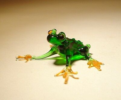 "Blown Glass  Figurine ""Murano"" Art Animal Small Green Toad FROG"