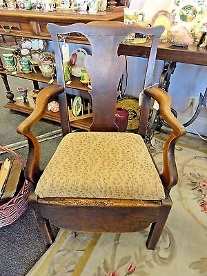 Antique Oak Chippendale Potty Chair, Circa Early 1800's