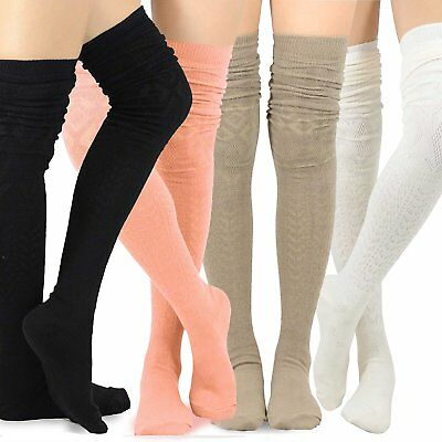 Teehee Women's Extra Long Cotton Thigh High Socks 4 Pair Pack Pointelle