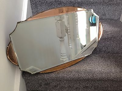 Beautiful Genuine 1930's Art Deco Bevelled Edge Copper Mirror & Original Chain