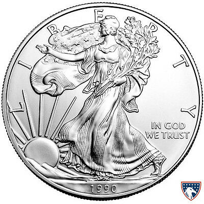 1990 1 oz American Silver Eagle Coin (BU) with Light Toning