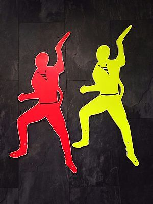 Quirky Uv Large Vintage Fluorescent Yellow Red Arcade Game Figures Man Cave Sign
