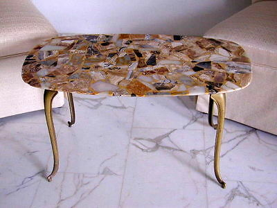 SUBLIME Italian Mid Century Modern Low Table Marble&Brass Palladiana Floor 50s