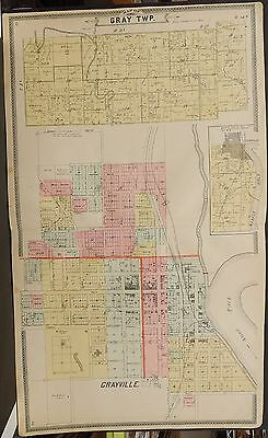 Illinois White County Gray Township  c1901 Double Page Q7#45
