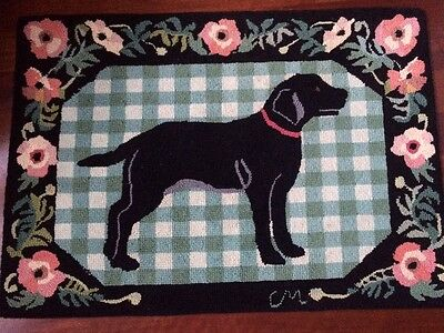 """Retired Claire Murray Rug Vintage """"Black Dog"""" Roses Wool Hand Hooked NICE!"""
