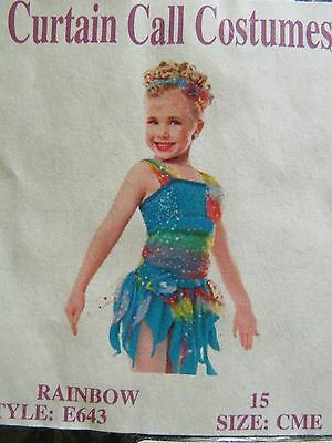 "Girls Curtain Call ""rainbow"" Dance Costume Size Childs Med Usa"