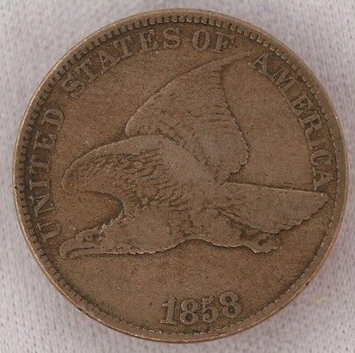 1858 Large Letters Flying Eagle Cent 1C Choice Vf Very Fine (3)