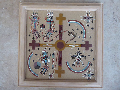 Vintage framed hand crafted Navajo Sand painting of Zuni Creation Story – Signed
