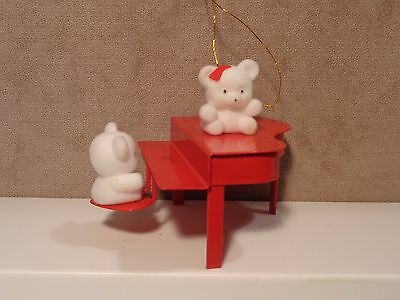 Avon Flocked Teddy Bears Playing Red Piano Collection Ornament  (S11)