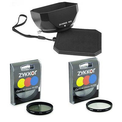 52mm LENS Hood + UV CPL Filters for Sony HDR-PJ790V PJ790 PJ790V PJ710V FDR-AX33