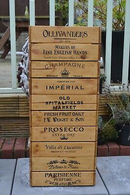 Vintage style shabby chic wooden crate (Champagne, Prosecco, Harry Potter, Gin)