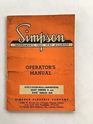 Simpson Operators Manual Volt Ohm- 260 Series 5 And 5M