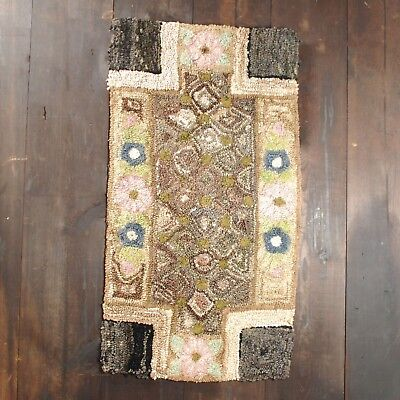 Antique Primitive Folk Art Hooked Rug Unusual Pink and Grey Floral