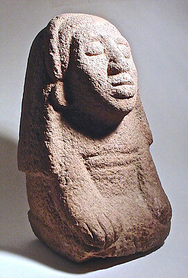 Pre-Columbian AZTEC STONE FEMALE FIGURE  MEXICO w/COA