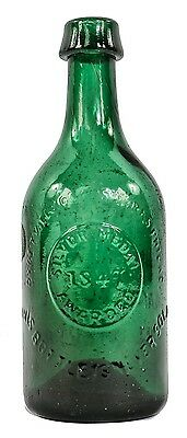 """1847-1855 Emerald Green Iron Pontiled """"silver Medal"""" Soda Water Bottle"""