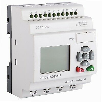 Micro PLC Programmable Logic Controller 8DC in 4 Relay out, Software 12V 24V DIN