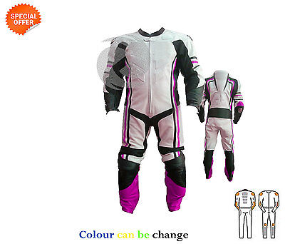 Motorbike gears super bike riding suit in purple and white leather any size