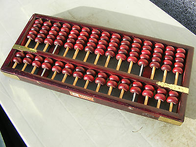 Vintage Chinese Wooden Abacus With Maker Plate