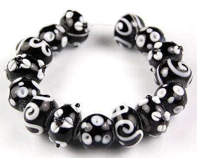 15pcs Lampwork Glass Beads Classic Black White Flower Loose Rondelle Spacer