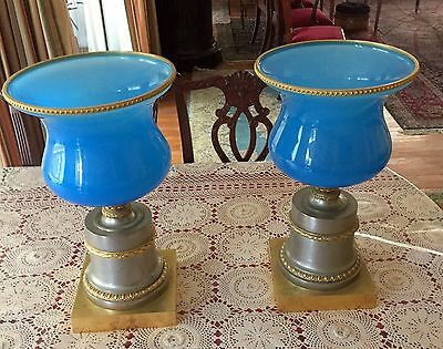 Pair 19C Rare French Blue Opaline Large Center-Pieces& Silver Gilt Bronze Base
