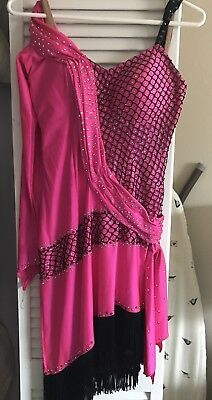 BALLROOM LATIN RHYTHM COMPETITION DANCE DRESS  w/ Swarovski Fringe size small
