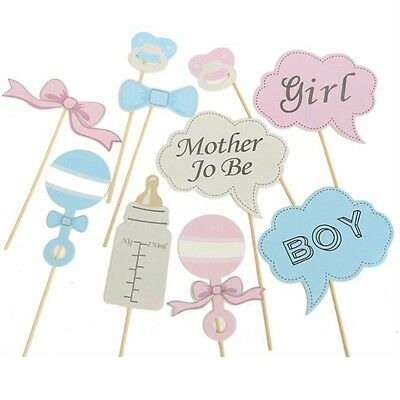 10pcs Photo Booth Party Props Baby Show Shower Boy Girl Blue Pink Selfie Kit DIY