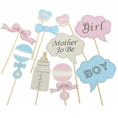 25pcs Photo Booth Party Props Baby Show Shower Boy Girl Blue Pink Selfie Kit DIY