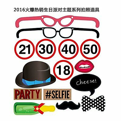 14pcs Photo Booth Party Props Funny Adult Birthday Events Kit Masks DIY Unisex