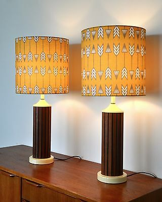 Vintage Danish Mid Century walnut Lamps 'RøR;' with new BESPOKE shades PAIR