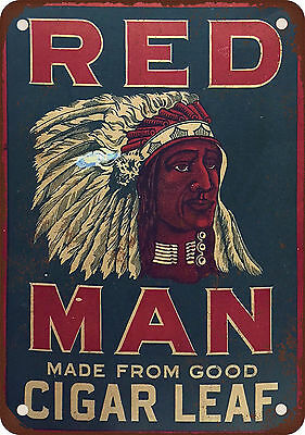 """7"""" x 10"""" Metal Sign - Red Man Chewing Tobacco - Vintage Look Reproduction 2"""