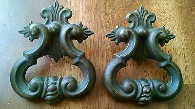 Vintage 1970's cabinet drawer door pulls cast brass set of 2 repurpose projects