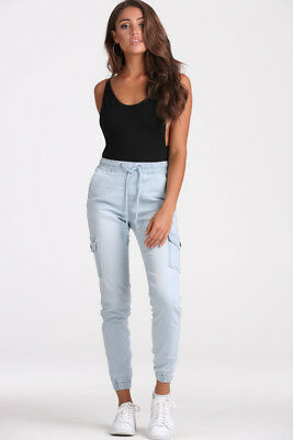 New - Womens Light Blue Soft Slouch Zip Gathered Denim Jeans Pants - Free Expres