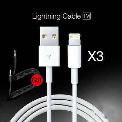 3-Pack USB Sync Data Charging Charger Cables Cords for Apple iPhone 8 /6s/Plus/7