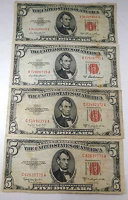 4 1953 Five Dollar Red Seal United States Notes $20 Face Circulated $5 56