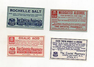 4 DRUG STORE  LABELS of THE CRYSTAL PHARMACY ATTICA NY C C STURROCK PH G  #2