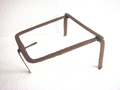 Antique 19th C. Blacksmith Made Wrought Iron Fireplace 3 Legged Spider/ Trivet 4