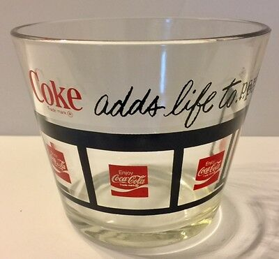 """Rare Coke Coca Cola Collectable Coke """"adds life to …parties"""" Glass Party Bowl"""