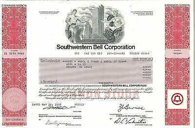 Southwestern Bell Corporation > 1984 old stock certificate share